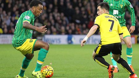 Andre Wisdom takes on Jose Manuel Jurado at Vicarage Road on Saturday. Picture by Paul Chesterton/Fo