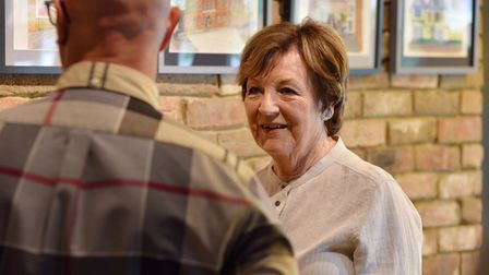 Delia Smith unveils artwork by Nick Chinnery which has been installed at the newly opened Yellows Ba