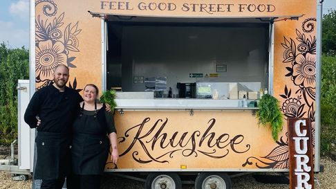 Simon Blackwell and Celine Baxter outside the Khushee Street Food van, which is pitching up across Norfolk.