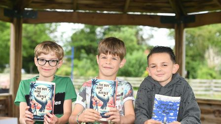 Elm students with their new bookthanks to MP Steve Barclay's annual Read to Succeed campaign.
