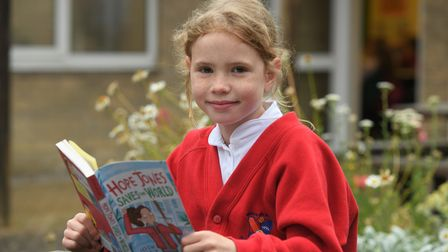 Glebelandsstudentwith her new bookthanks to MP Steve Barclay's annual Read to Succeed campaign.