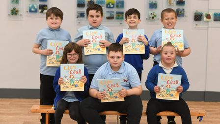 Meadowgatestudentswith their new books thanks to MP Steve Barclay's annual Read to Succeed campaign.