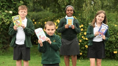 All Saintsstudentswith their new books thanks to MP Steve Barclay's annual Read to Succeed campaign.