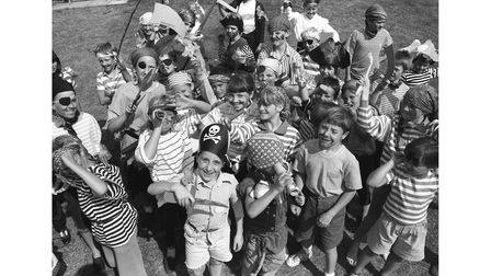 A pirate-themed holiday playscheme in Hartest in August 1990
