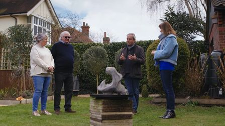 Fake or Fortune hosts Fiona Bruce discuss sculpture, possibly by Henry Moore, in the garden of Neil and Barbara Betts.