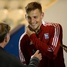 Luke Woolfenden talks to Mike Bacon after Ipswich's 3-3 friendly draw at Colchester United