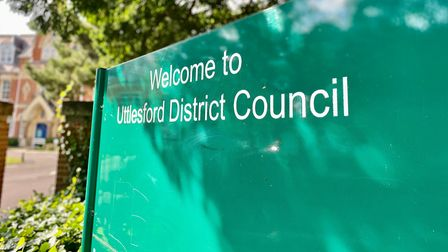 A green sign: Uttlesford District Council, in Essex