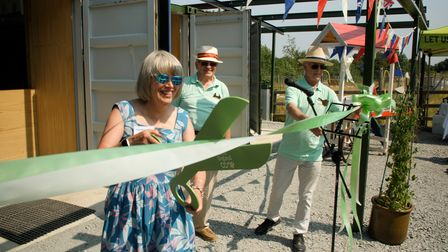 Bridget McIntyre MBE, High Sheriff of Suffolk, cuts the ribbon at the new and improved Debenham Shed