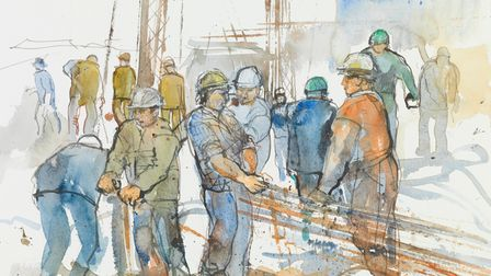 Construction workers on the site of Castle Mall, Norwich, as captured by artist Kay Ohsten