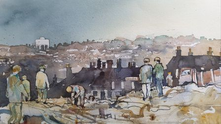 A piece by artist Kay Ohsten showing the changing landscape during the construction of Castle Mall, Norwich