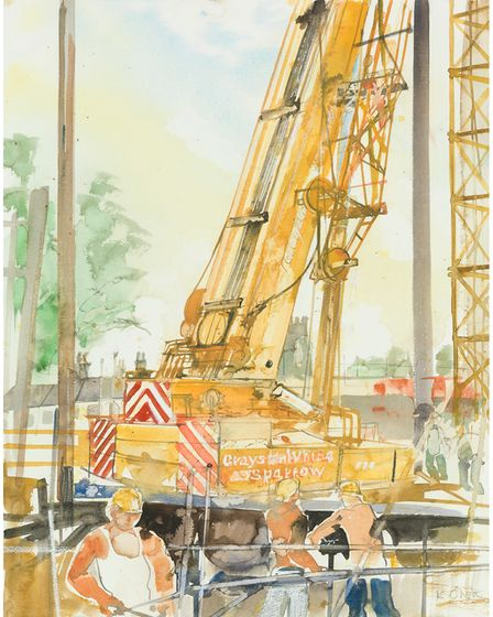 A crane on site during the construction of Castle Mall in Norwich