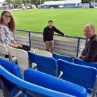 Bethany Taylor of Community Action Suffolk, Chris Ward of Bury Town FCand West Suffolk councillor Robert Everitt