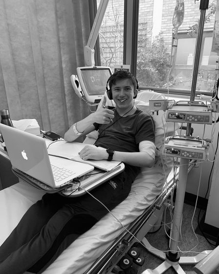 Hugo Pattison, 14, receiving chemotherapy in 2021 for testicular cancer.