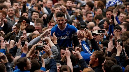 Portsmouth's Conor Chaplin celebrates with the fans after the Sky Bet League Two match at Meadow Lan