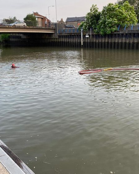 Wisbech fire crew practising river rescues