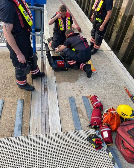 Wisbech fire and rescue crews familiarising themselves with river rescue equipment