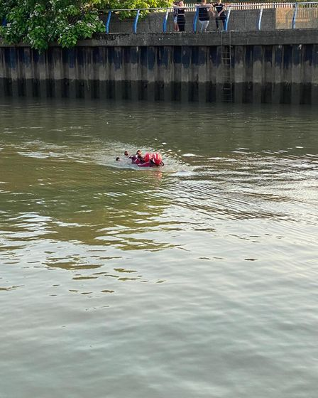 Wisbech Fire and Rescue crews practising river rescue skills