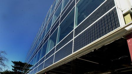 Solar panels on the exterior of Endeavour House IPSWICH