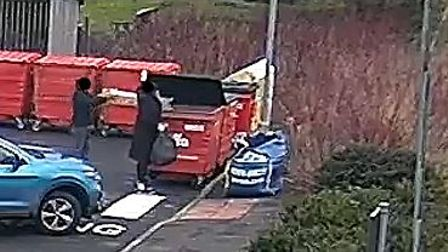 CCTV caught these two fly-tippers dumping their waste in private bins.