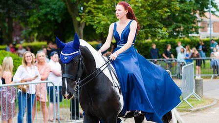 Elaine Defty arriving at the prom night on a horse.