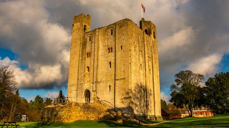 The keep of Hedingham Castle, where EA Festival is taking place, at sunset