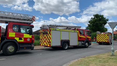 Several fire crews are working inMeadow Close in Narborough after a blaze at a bungalow.