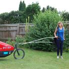 Rosie Swale Pope MBE (pictured) was pictured on her way to Littleport and Wisbech, during her charity run.