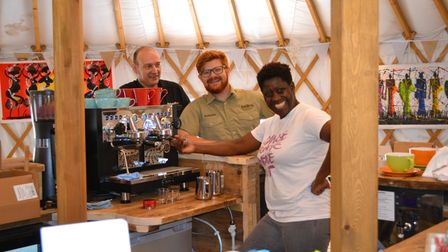 Priscilla Westgarth and the team in the Yurt cafe at Potton Hall