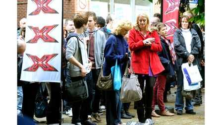 Hopefulls waiting in line for the X Factors' mobile auditions, Lion Walk Colchester in 2012