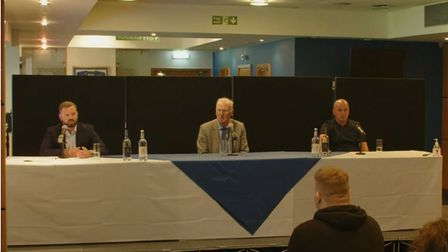 (L-R) Mark Ashton, Mike O'Leary and Paul Cook take questions from Ipswich Town fans at Portman Road tonight