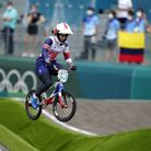 Great Britain's Bethany Shriever competes in the Cycling BMX Racing semi finals at the Ariake Urban