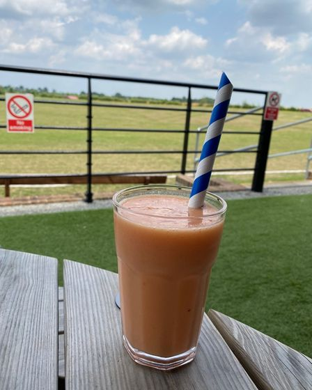 The raspberry smoothie at the Grumpy Goat in Bardwell