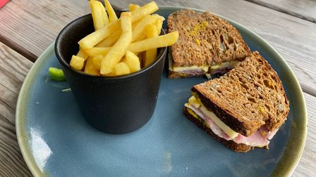 The ham, cheese and mustard sandwich on seeded batchbreadat the Grumpy Goat in Bardwell