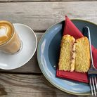 The Victoria sponge and latteat the Grumpy Goat in Bardwell