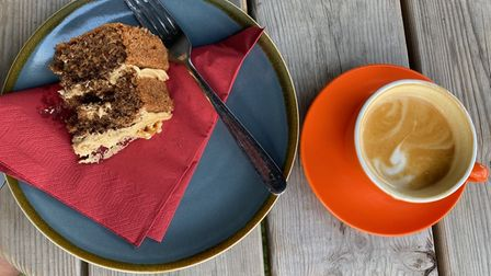 The coffee and walnut cakeand flat white coffeeat the Grumpy Goat in Bardwell
