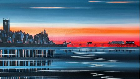 This paintingof Cromer at sunset, valued at £1,900, is being raffled to raise money for a new Macmillan cancer unit.