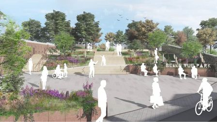A CGI image of the proposed Belle Vue Park entrance in Sudbury