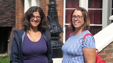 Lawyer Sarah Wilks (left) meeting Raine's Foundation chair Carole Day to discuss plans for East Park free church school