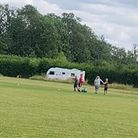Caravans are parked at Waterbeach Recreation Ground