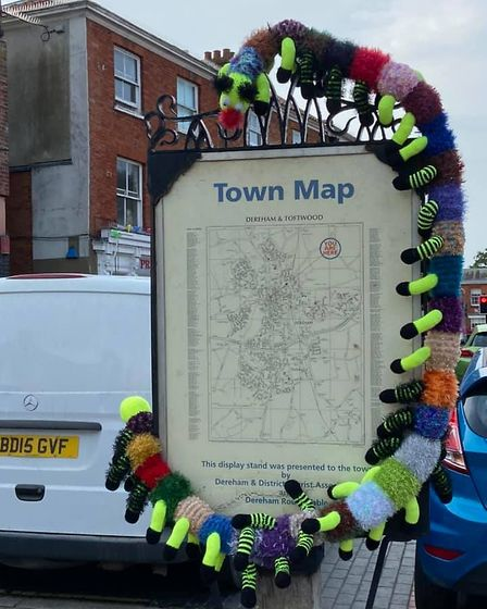 A caterpillar has made the town map its new home