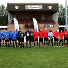 The two teams that played a charity match at Ely City FC for Prostate Cancer UK