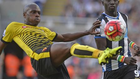 Allan Nyom clears the danger against Newcastle United. Picture: OWEN HUMPHREYS