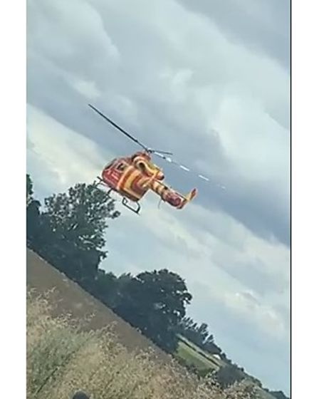 The air ambulance could be seen taking off from a field near the crash