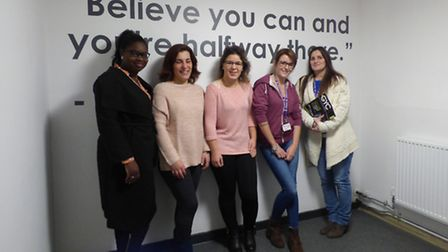 Great Yarmouth College students, from left to right, Liliana Gomes, 24, Ana Coutinho, 26, Carla Vale