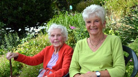 Two of the women who attended the Gardens of Easton Lodge celebration in Little Easton, Essex