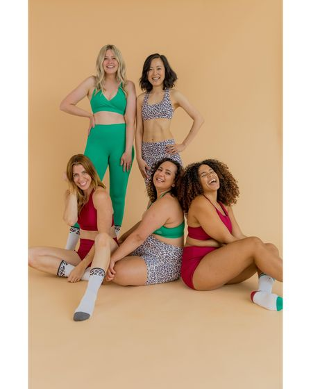 Carly Rowena, front row left, invited some of her followers to take part in a photoshoot for her debut activewear collection