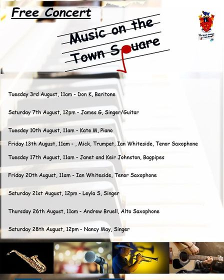 The poster for this summer's Music on the Town Square in Great Dunmow, Essex