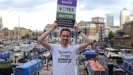 Mark Broadmore's protest at Limehouse marina