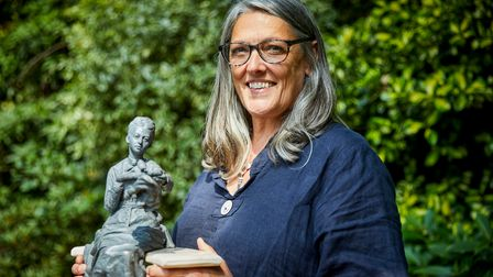 Billie Bond, of Great Waltham, near Chelmsford, with her maquette of RSPB founder Emily Williamson