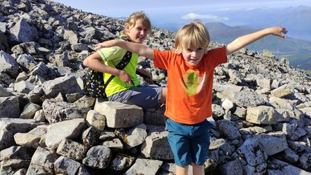 Seth (right) and his sister Eva at the top of Ben Nevis